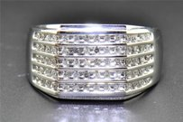 Diamond Wedding Band 10k White Gold Round Cut 5 Rows Engagement Ring 0.50 Ct