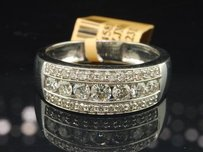 Diamond Wedding Band 10k White Gold Channel Round Cut Engagement Ring 1.10 Ct