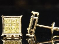 Jewelry For Less Yellow Diamond Square Studs Mens 10k Gold Round Cut Pave Design Earrings 14 Tcw