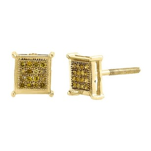 Yellow Diamond Studs Mens Ladies 10k Yellow Gold Pave Earrings 0.10 Tcw