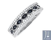 Jewelry Unlimited 10k White Gold Criss Cross Genuine Blue And White Diamond Wedding Ring 0.50ct