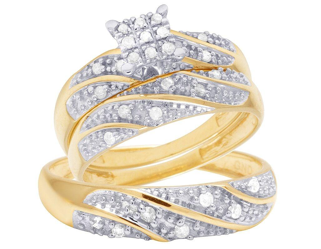 Jewelry Unlimited 10k Yellow Gold Diamond Trio Wedding Engagement
