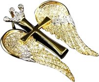 Jewelry Unlimited 10k,Yellow,Gold,Genuine,Diamond,2,Tone,Angel,Wing,Charm,Pendant,1.0ct,1.25