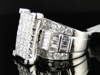 Other 14K Ladies Womens White Gold Princess Cut Diamond Ring 4ct