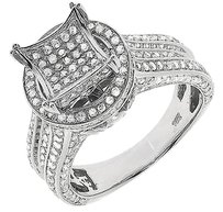 Jewelry Unlimited 10k,White,Gold,Ladies,Round,Pave,Diamond,Halo,3d,Engagement,Wedding,Ring,1.50,Ct