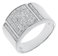Jewelry Unlimited White,Gold,Finish,Mens,Round,Pave,Diamond,Xl,Concave,Fashion,Band,Ring,0.45,Ct