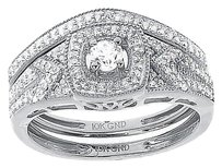 Jewelry Unlimited 10k,White,Gold,Ladies,Round,Solitaire,Diamond,Bridal,Engagement,Ring,Set,.40,Ct
