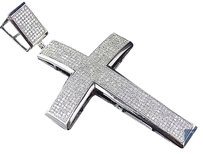 Jewelry Unlimited 10k,White,Gold,Genuine,Diamond,Micro,Pave,Cross,Icy,Pendant,Charm,2.15ct,3.0