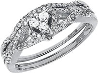 Jewelry Unlimited 10k,White,Gold,Round,Diamond,Heart,Love,Bridal,Wedding,Engagement,Ring,Set,.38c