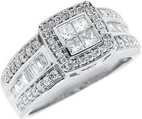 Jewelry Unlimited 10k,White,Gold,Ladies,Round,Princess,Diamond,Engagement,Wedding,Ring,0.96,Ct