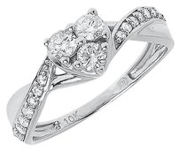 Jewelry Unlimited 10k,White,Gold,Round,Diamond,Heart,Love,Engagement,Wedding,Promise,Ring,0.51,Ct