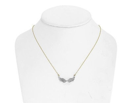 Jewelry Unlimited 10k,Yellow,Gold,Ladies,Pave,Diamond,Angel,Wing,18,Pendant,Necklace,0.25,Ct