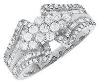 Jewelry Unlimited 10k,White,Gold,Ladies,Round,Diamond,Cluster,Tapering,Engagement,Fashion,Ring,1ct