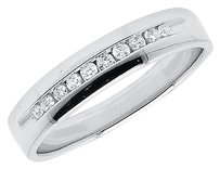 Jewelry Unlimited 10k,White,Gold,Mens,Channel,Diamond,4.5mm,Comfort,Fit,Wedding,Band,Ring,0.19,Ct