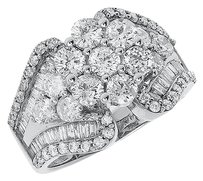 Jewelry Unlimited 14k,White,Gold,Ladies,Round,Diamond,Cluster,Tapering,Engagement,Fashion,Ring,3ct