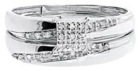 Jewelry Unlimited 10k,White,Gold,Mens,Ladies,Round,Diamond,Engagement,Bridal,Trio,Ring,Set,0.15,Ct