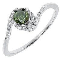Jewelry Unlimited 14k,White,Gold,Ladies,Round,Fancy,Green,Solitaire,Diamond,Engagement,Ring,0.54ct