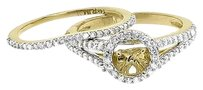 Jewelry Unlimited 14k,Yellow,Gold,Ladies,Diamond,Semi,Mount,Solitaire,Halo,Bridal,Ring,Set,0.77,Ct