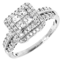 Jewelry Unlimited 10k,White,Gold,Ladies,Princess,Round,Diamond,Halo,Engagement,Fashion,Ring,1,Ct