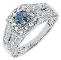 Jewelry Unlimited 10k,White,Gold,Women,Round,Solitaire,Blue,White,Diamond,Engagement,Ring,1.06,Ct