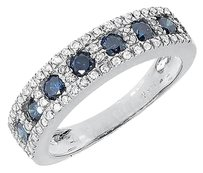 Jewelry Unlimited 14k,White,Gold,Ladies,Blue,White,Diamond,5mm,Wedding,Fashion,Band,Ring,0.95,Ct