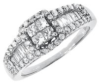 Jewelry Unlimited 10k,White,Gold,Ladies,Round,Princess,Diamond,Engagement,Wedding,Ring,0.99,Ct
