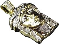 Jewelry Unlimited Genuine,White,Diamond,Micro,Pave,Jesus,Piece,Charm,In,10k,Yellow,Gold,1,.33ct