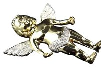 Jewelry Unlimited Solid,10k,Yellow,Gold,3d,Angel,Cherub,Genuine,Diamond,Charm,Pendant,2.5,1.0,Ct