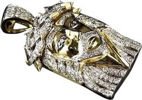 Jewelry Unlimited Mens,10k,Yellow,Gold,Genuine,Pave,Diamond,Crowned,Jesus,Piece,Charm,1.5,1.0ct