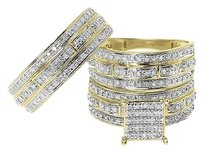 Jewelry Unlimited 10k,Yellow,Gold,Mens,Ladies,Round,Diamond,Bridal,Wedding,Trio,Ring,Set,0.75,Ct