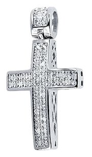 Jewelry Unlimited White,Gold,Finish,Men,Ladies,Round,Pave,Diamond,1.3,Cross,Pendant,Charm,.75,Ct