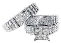 Jewelry Unlimited 10k,White,Gold,Mens,Ladies,Round,Vertical,Diamond,Wedding,Trio,Ring,Set,0.75,Ct