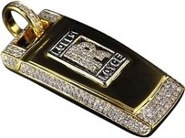 Jewelry Unlimited Mens,Solid,10k,Yellow,Gold,Rolls,Royce,Key,Diamond,Pendant,1.75,In,Charm,1.5,Ct