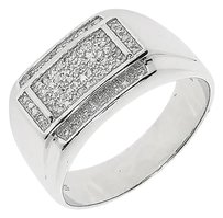 Jewelry Unlimited White,Gold,Finish,Mens,Round,Pave,Diamond,Xl,Concave,Fashion,Band,Ring,0.25,Ct