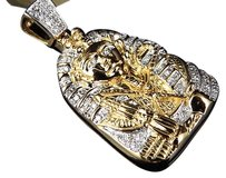 Jewelry Unlimited Egyptian,Pharaoh,King,Tut,Genuine,Diamond,Pendant,Mini,10k,Yellow,Gold,0.35,Ct