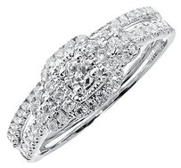Jewelry Unlimited 14k,White,Gold,Ladies,Round,Solitaire,Diamond,Bridal,Wedding,Ring,Set,0.51,Ct