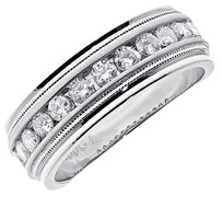 Jewelry Unlimited 10k,White,Gold,Mens,Round,Diamond,Machine,Set,8mm,Comfort,Fit,Wedding,Band,1ct