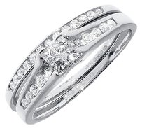 Jewelry Unlimited 10k,White,Gold,Ladies,Princess,Diamond,Engagement,Wedding,Bridal,Ring,Set,0.47ct