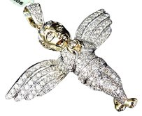 Jewelry Unlimited 10k,Yellow,Gold,Genuine,Diamond,Icy,Solitaire,3d,Angel,2,Pendant,Charm,3.50ct