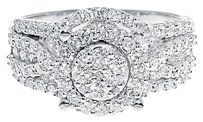 Jewelry Unlimited 10k,White,Gold,Ladies,Round,Diamond,Cluster,Halo,Engagement,Wedding,Ring,1.18,Ct