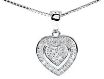 Jewelry Unlimited White,Gold,Finish,Ladies,Round,Pave,Diamond,Dual,Heart,Love,Pendant,Charm,0.20ct