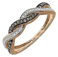 Jewelry Unlimited 10k,Rose,Gold,Ladies,Brown,White,Pave,Diamond,Twisted,Fashion,Band,Ring,0.20,Ct