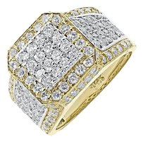 Jewelry Unlimited Mens,14k,Two,Tone,Gold,14,Mm,Round,Pave,Pinky,Wedding,Band,Diamond,Ring,4.0,Ct