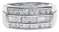 Jewelry Unlimited 14k,White,Gold,Mens,Round,Baguette,Diamond,10mm,Wedding,Fashion,Band,Ring,0.92ct