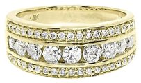 Jewelry Unlimited 14k,Yellow,Gold,Mens,Three,Row,Round,Channel,Diamond,8mm,Wedding,Band,Ring,1,Ct