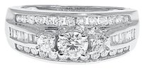 Jewelry Unlimited 14k,White,Gold,Ladies,3,Stone,Round,Baguette,Diamond,Engagement,Wedding,Ring,1ct