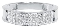 Jewelry Unlimited 10k,White,Gold,Mens,4,Row,Pave,Genuine,Diamond,6mm,Fashion,Band,Ring,0.33,Ct