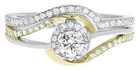 Jewelry Unlimited 10k,Gold,Two,Tone,Ladies,Round,Solitaire,Diamond,Bridal,Engagement,Ring,Set,12c