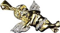Jewelry Unlimited 10k,Yellow,Gold,Genuine,Diamond,Consoling,Angel,1.5,Pendant,Charm,13,Ct