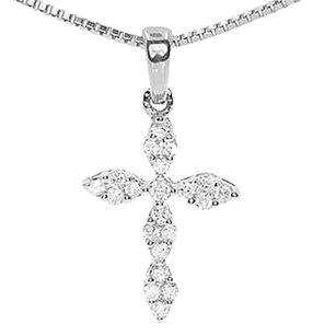 Jewelry Unlimited 14k,White,Gold,Ladies,Round,Diamond,Prong,Mini,Cross,Fancy,Pendant,Charm,0.25ct